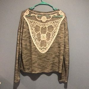 Lace-back sweater